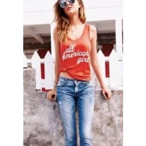 Wildfox All American Girl Tank Top Indian Red SZ L